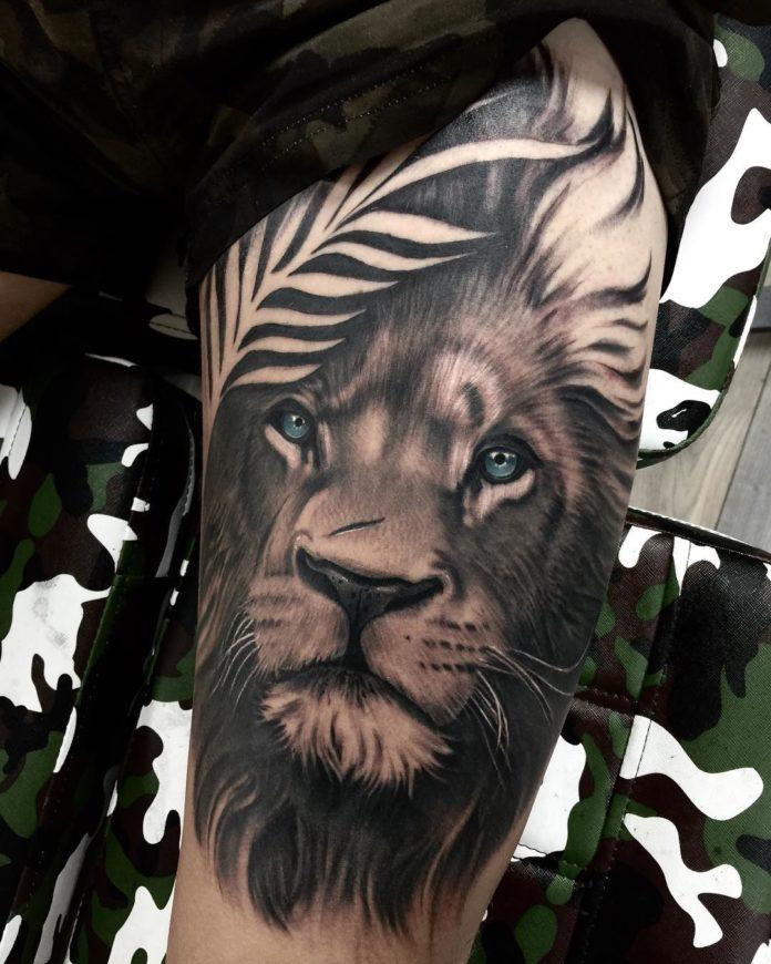 Tatouage Tête de Lion sur le bras