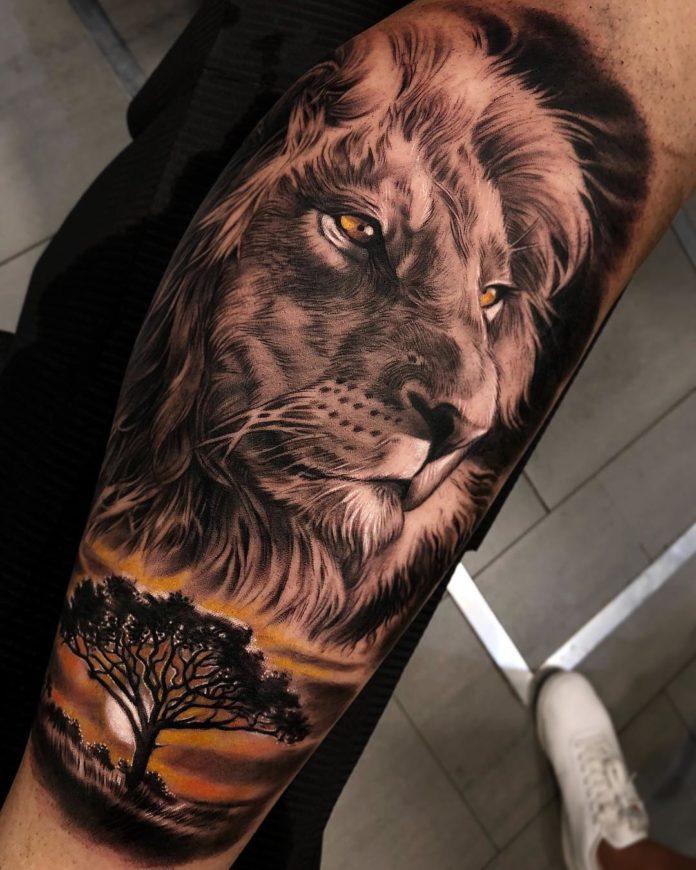 Tatouage Tête de Lion en couleur
