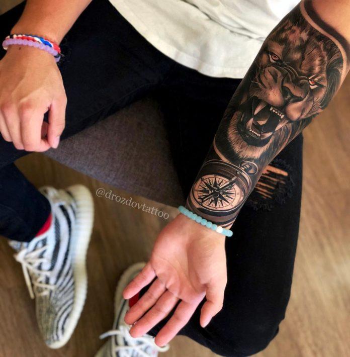Tatouage Tête de Lion sur avant bras