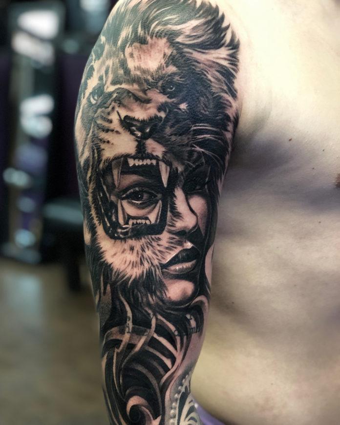 Tattoo Lion + Visage de femme
