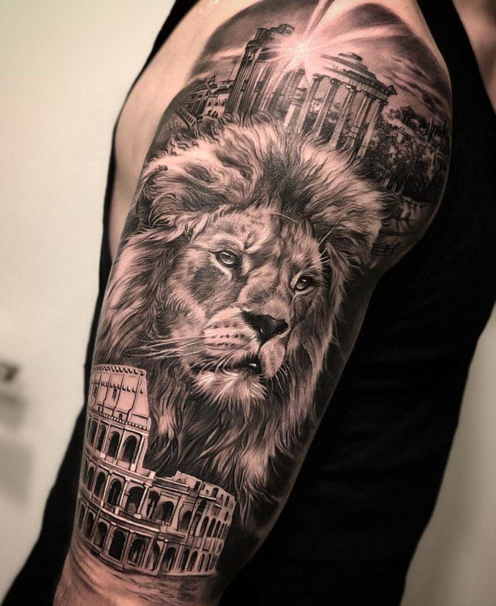 Tatouage composé Tête de Lion + monuments romains