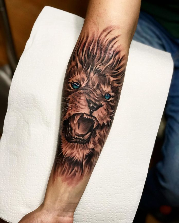 Tattoo Tête de Lion sur avant bras