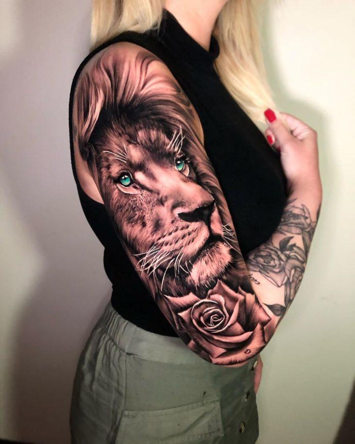 60149049 319261428988876 4110624819869132513 n - 53 Tatouages Lion pour Femme
