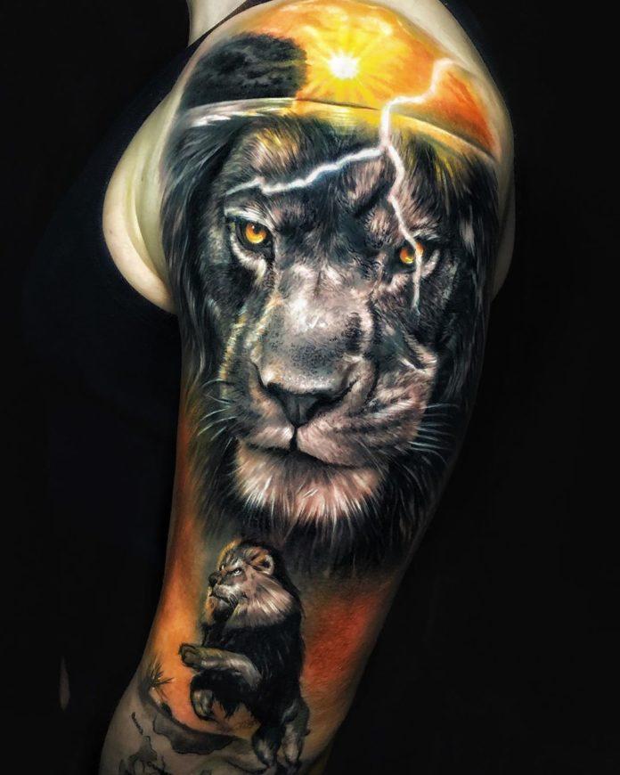 Tatouage Tête de Lion en couleur sur épaule