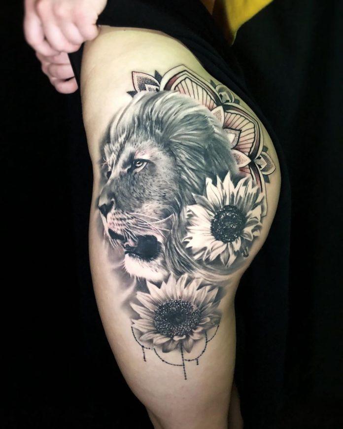 61528369 1108307036020926 3997732475886527085 n - 53 Tatouages Lion pour Femme