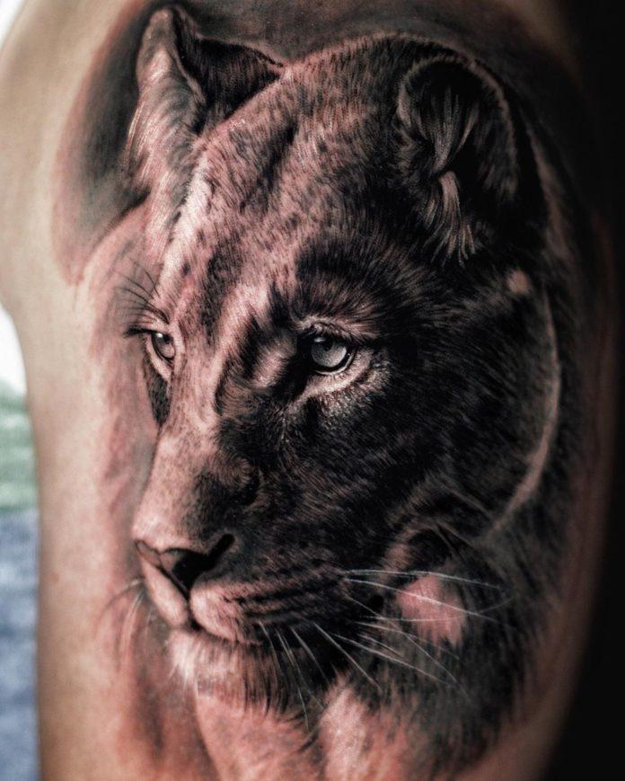 Tatouage Tête de Lion réaliste