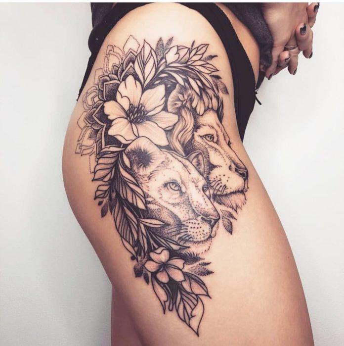 lion tattoo 211 - 53 Tatouages Lion pour Femme
