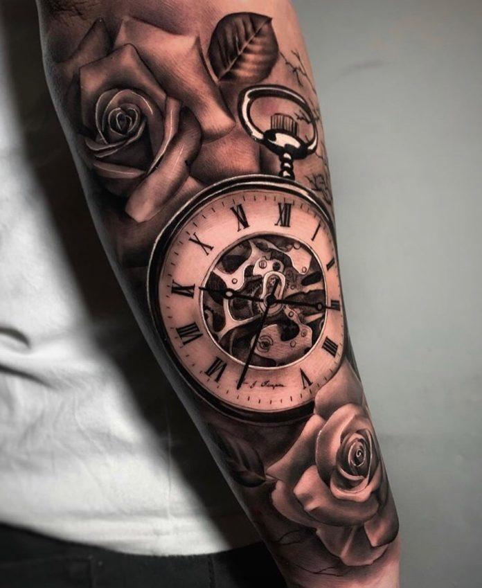 B25GSlzFL3S - 100 Tatouages d'Horloge pour Homme