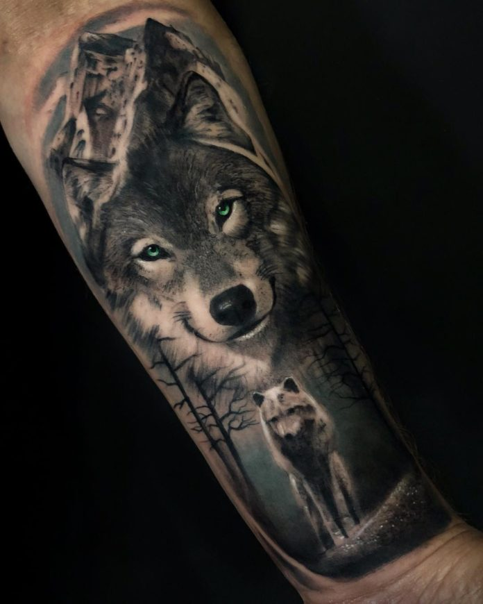 Tatouage d'un Loup de forêt et d'un Loup blanc sur avant bras