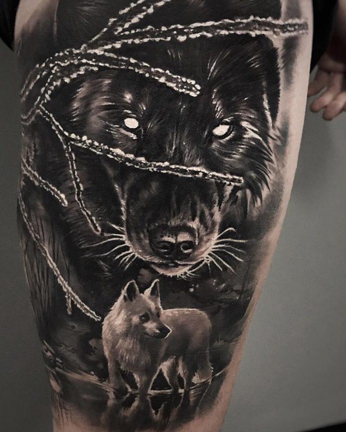 Tatouage de Loups givrés sur la cuisse