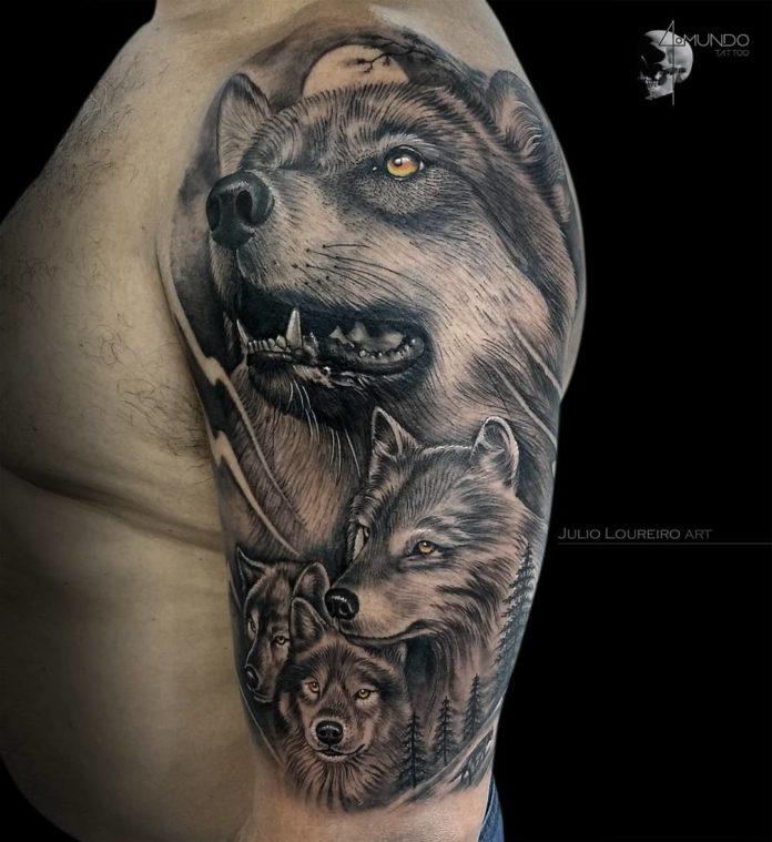 Tatouage de portrait de famille de Loup sur l'épaule