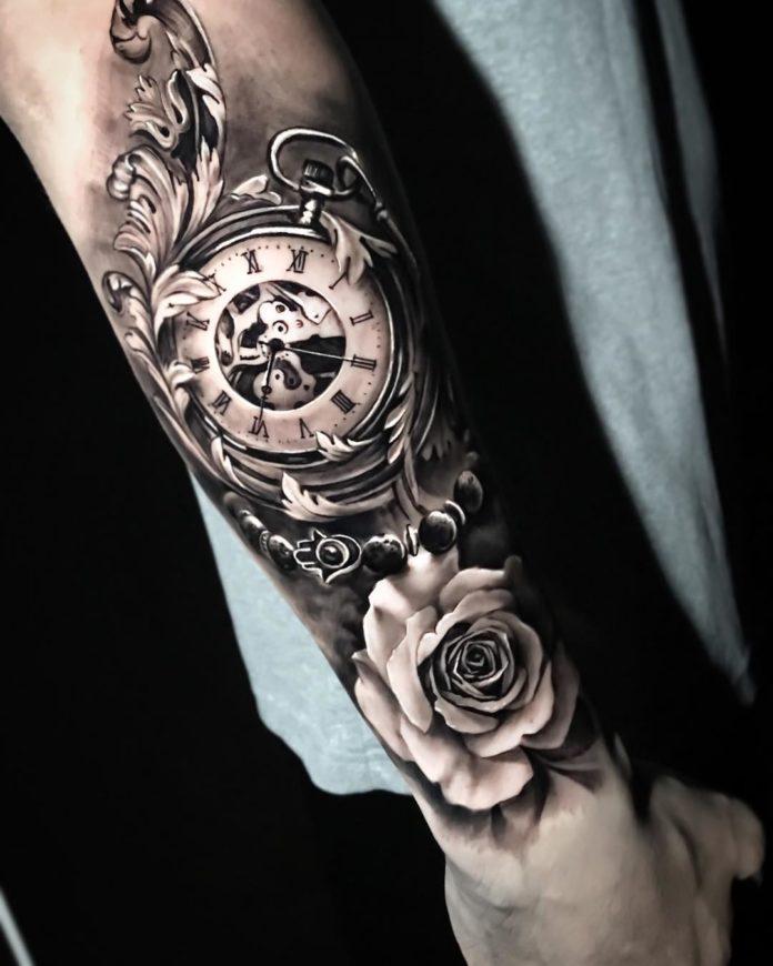 44341439 592927284456694 2321320241636328818 n - 100 Tatouages d'Horloge pour Homme