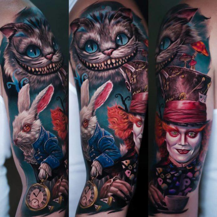 Tatouage des personnages le Chapelier fou, le chat, le lapin blanc dans Alice au pays des merveilles