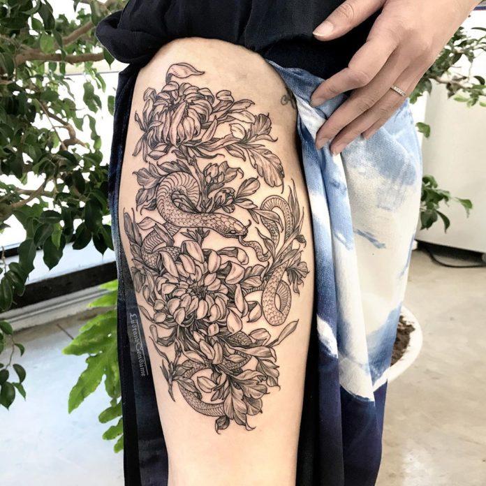 47 9 - Top 100 Tatouages Cuisse pour Femme