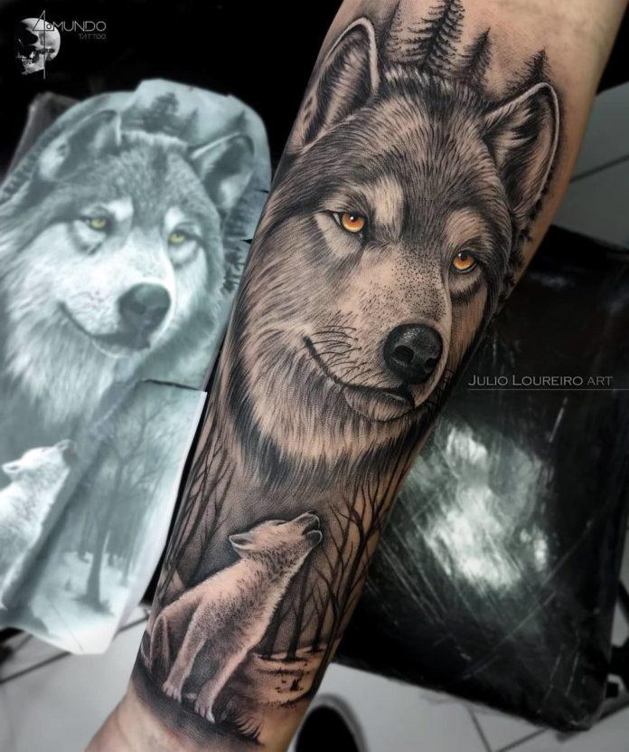Tatouage de tête de Loup sur avant bras + Louveteau blanc hurlant