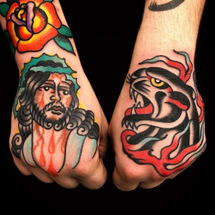 Tatouages Traditionnels Jesus + Panthère noire