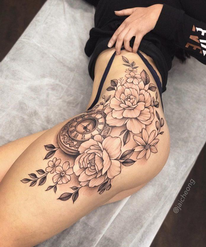 51 9 - Top 100 Tatouages Cuisse pour Femme