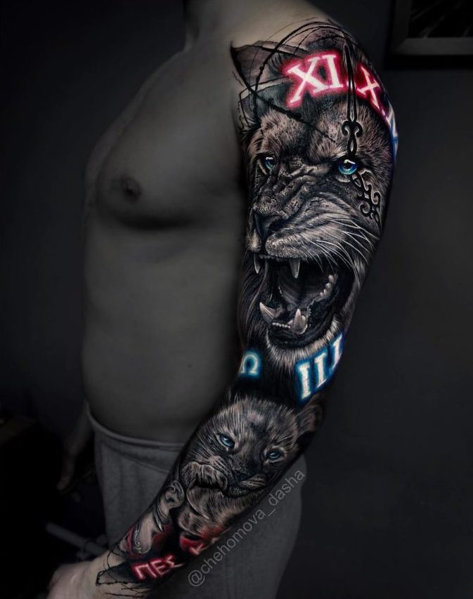 54 8 e1573474179516 - 150 Tatouages Bras Complet pour Homme