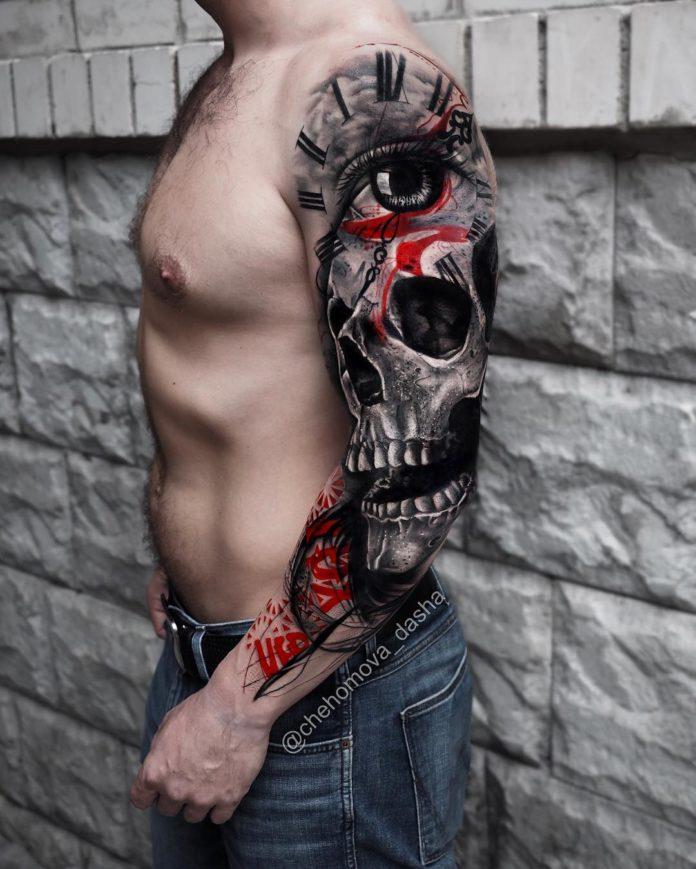 Tatouage Gros œil réaliste avec fond horloge + gros crâne