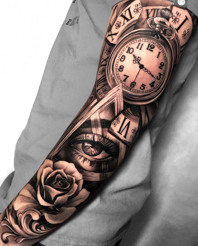 60724429 336662960348545 2014695588799424215 n - 100 Tatouages d'Horloge pour Homme