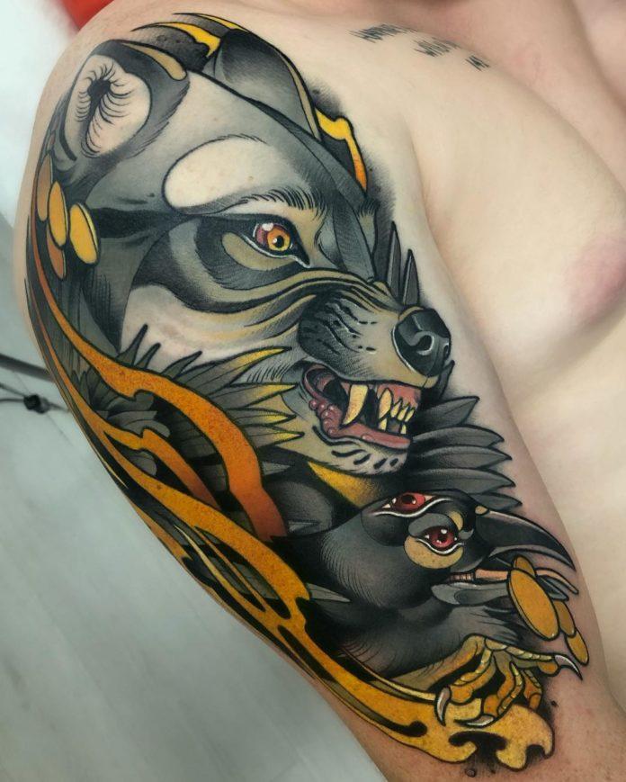 Tatouage en couleur de Tête de Loup + Tête de corbeau