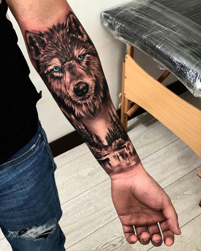 Tête de Loup + Paysage sur avant-bras