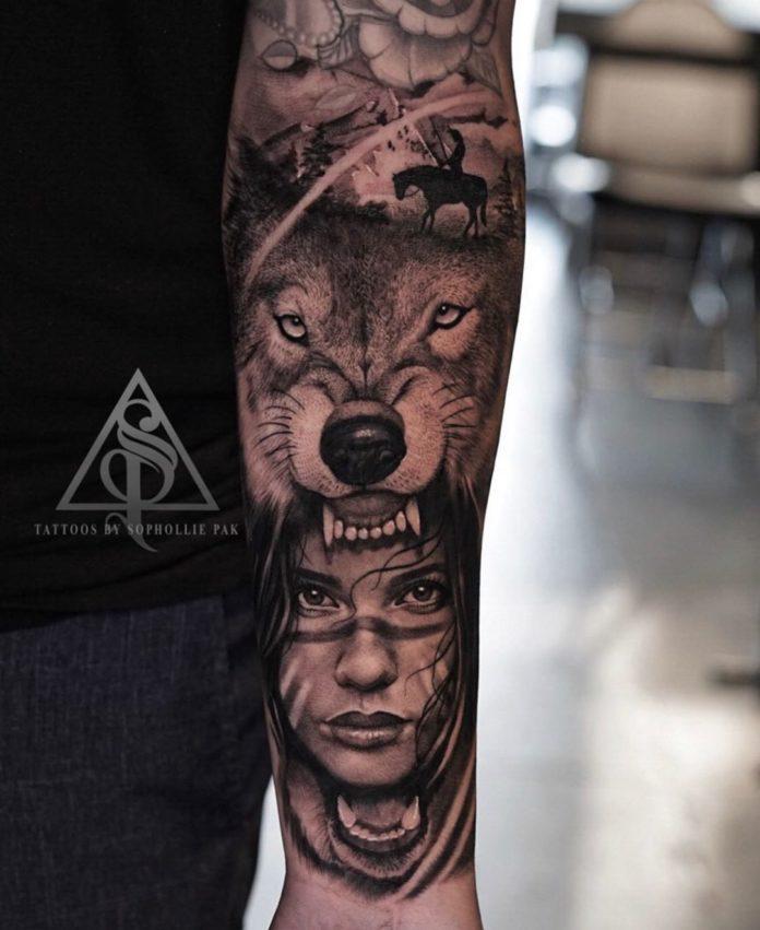 Tatouage de tête de Loup avec une fille amérindienne sur avant bras