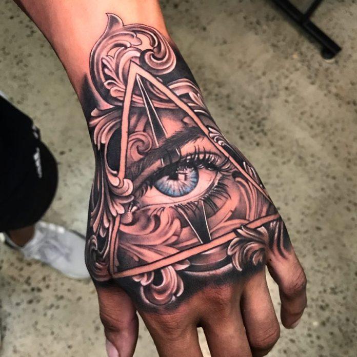 Tatouage d'œil bleu de providence stylisé