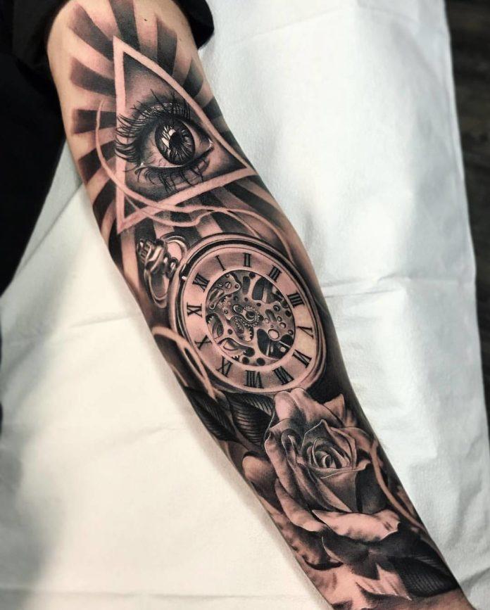 97 - 100 Tatouages d'Horloge pour Homme