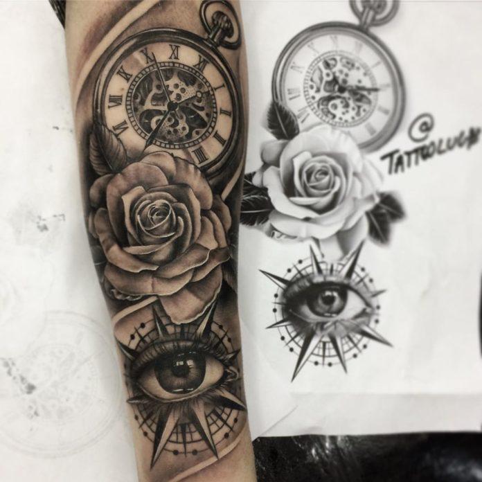 98 - 100 Tatouages d'Horloge pour Homme