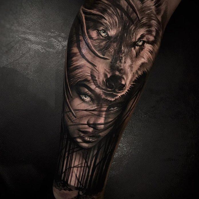 Tatouage de Loup avec un visage d'une femme