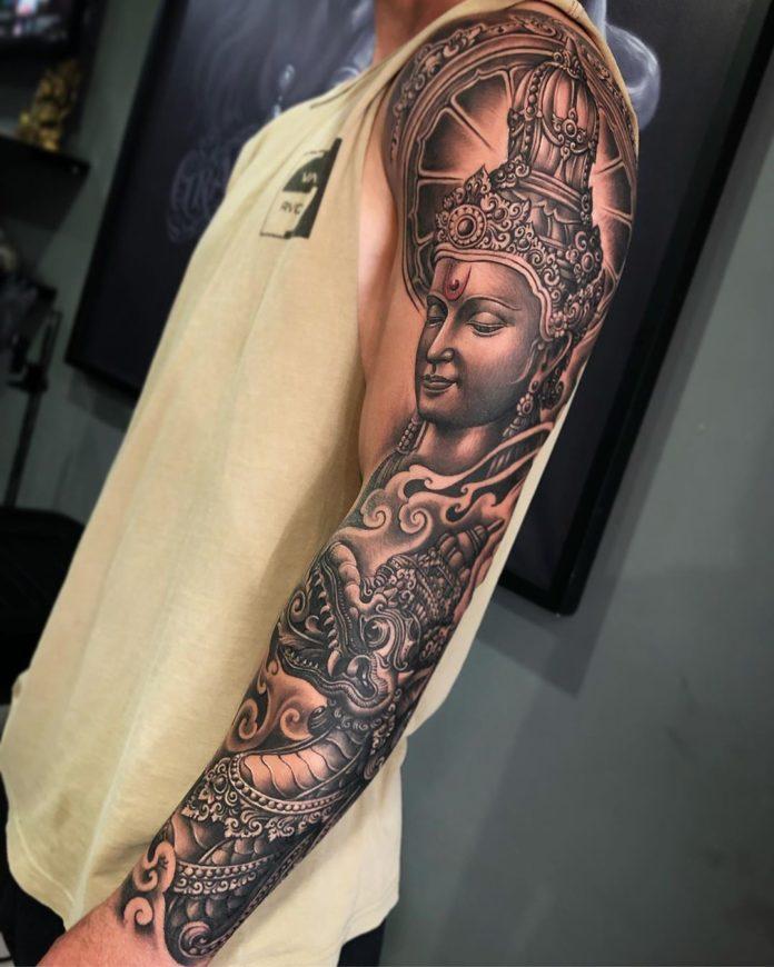 Tatouage du dieu Vishnou + Dragon
