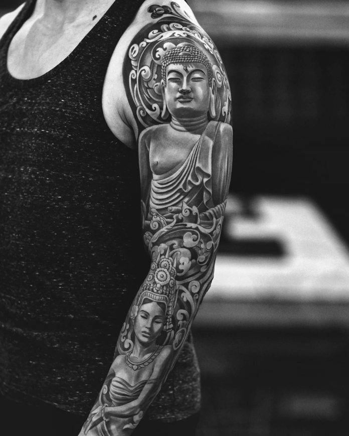 Tatouage Statue de Boudha + Visage de femme