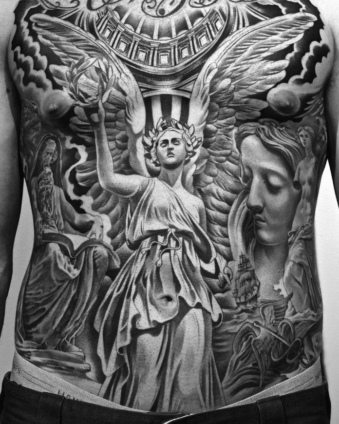 Tatouage d'un ange + Visage de femme