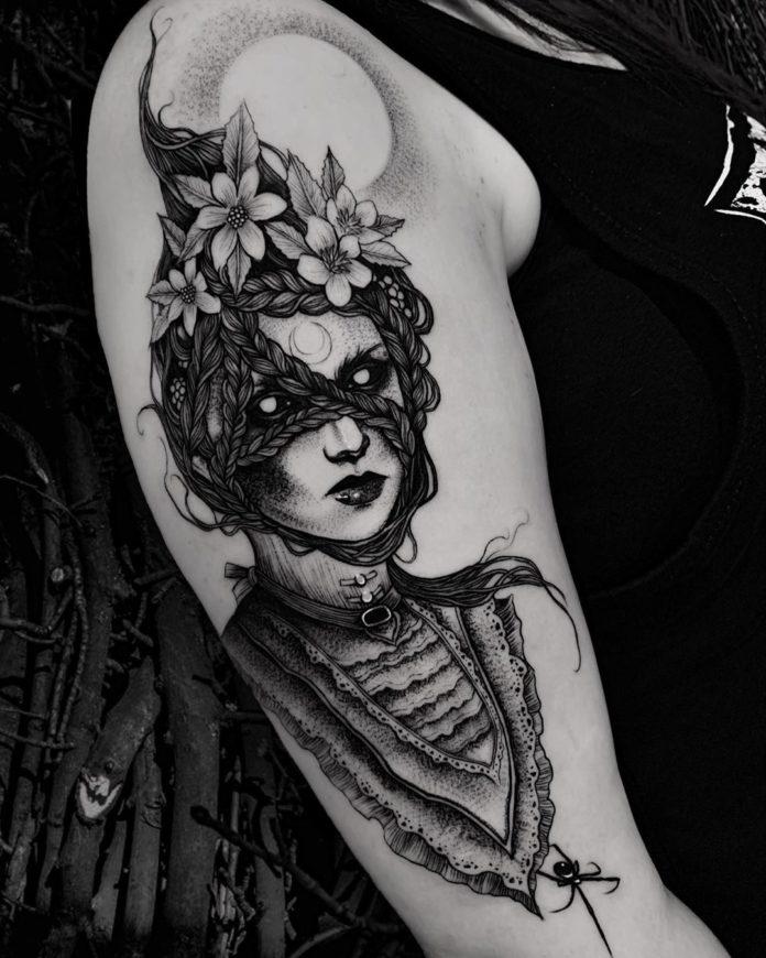 Tatouage de dessin d'une sorcière