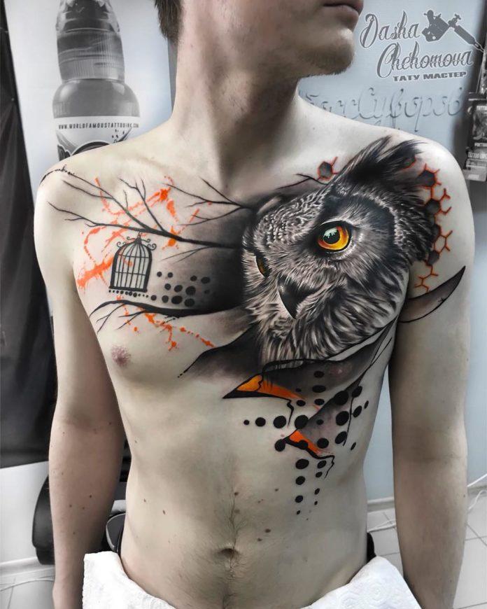 Tatouage de tête de hibou