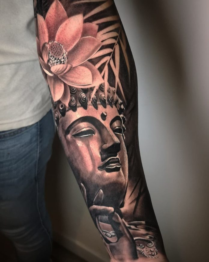 Tatouage Tête de Boudha + Fleur de lotus