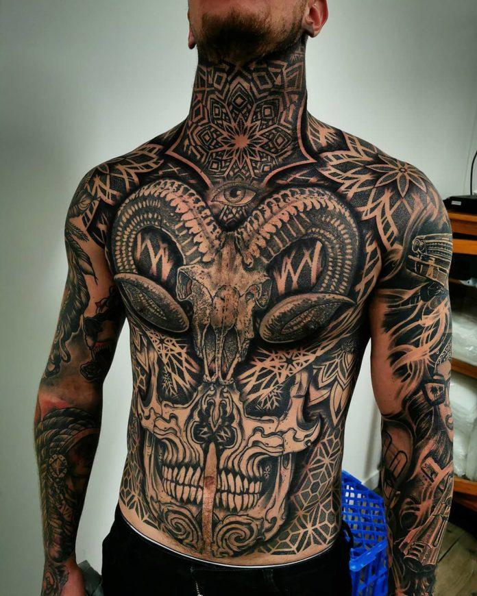 Tatouage ornemental de tête de mort + Œil et mandala