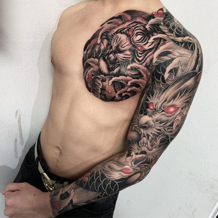 Composition de tatouages de tigre +dragon