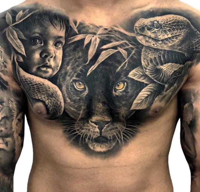 Tatouage de visage d'enfant + tête de léopard + serpent