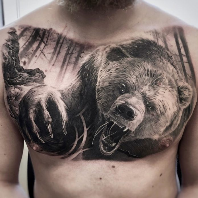 Tatouage d'un ours en colère