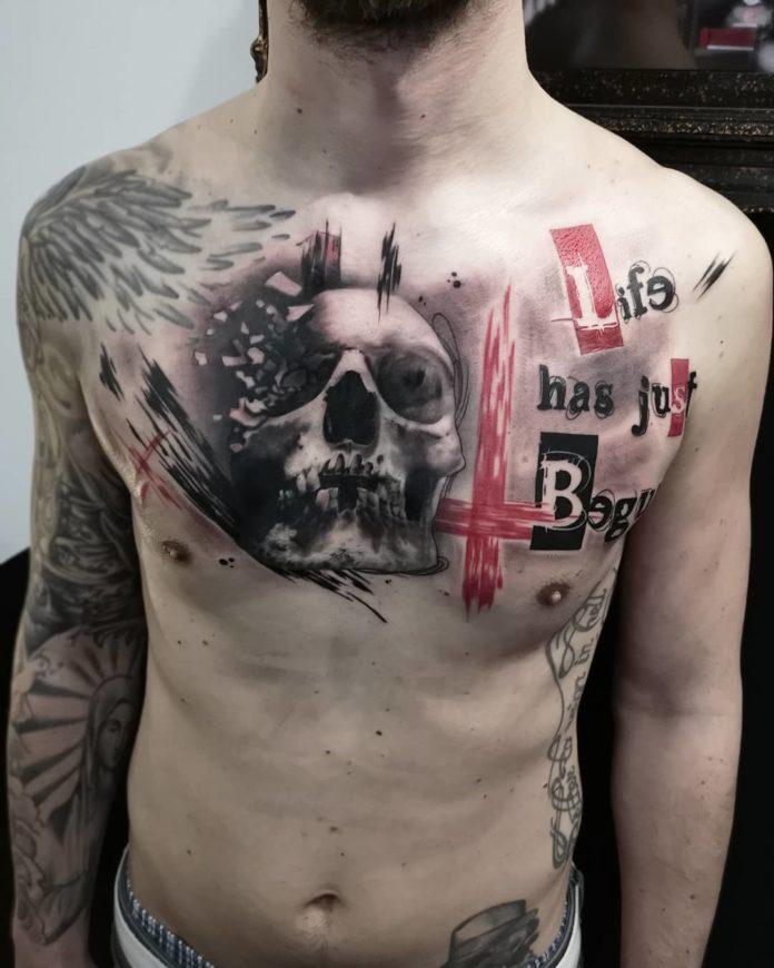 Tatouage de tête de mort + Phrase