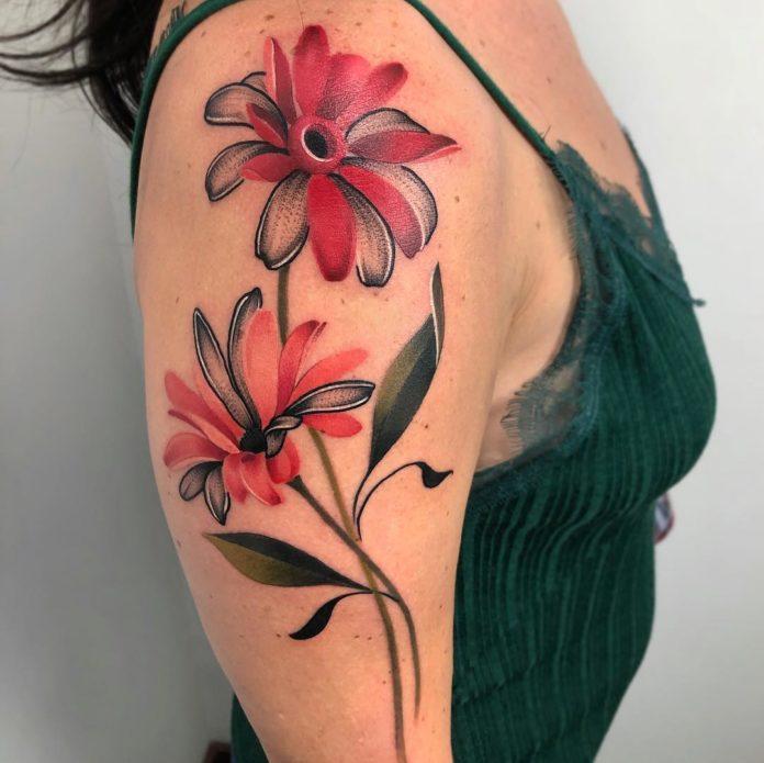 Magnifique tatouage de fleurs en couleur