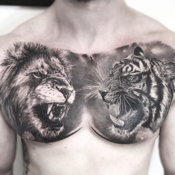 Tatouage réaliste de tête de lion et tête de tigre