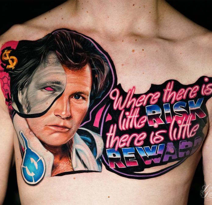Tatouage de portrait de Evel Kneivel