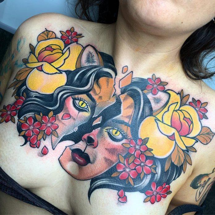 66 7 - 100 Tatouages Poitrine pour Femme