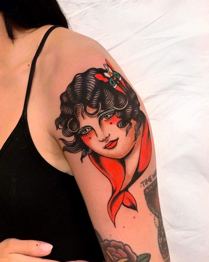 Tattoo de visage de femme style Old School