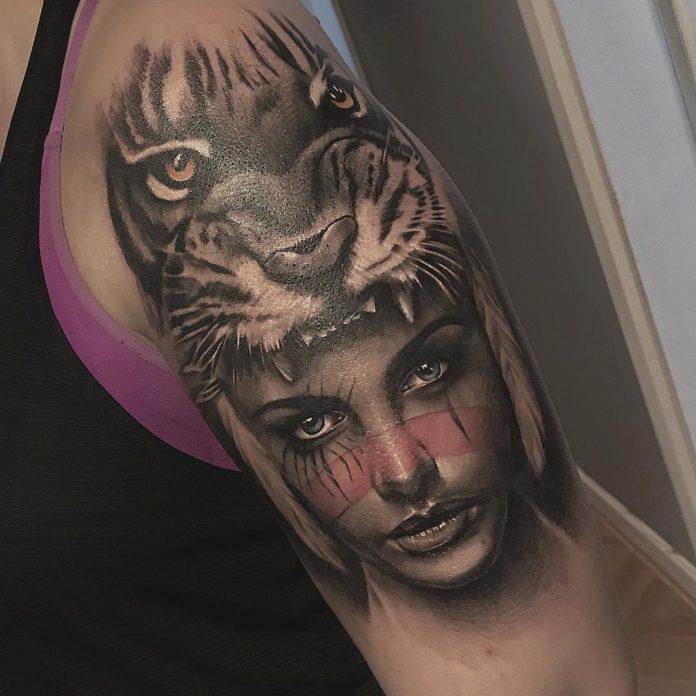 Tatouage de visage de femme + tête de tigre