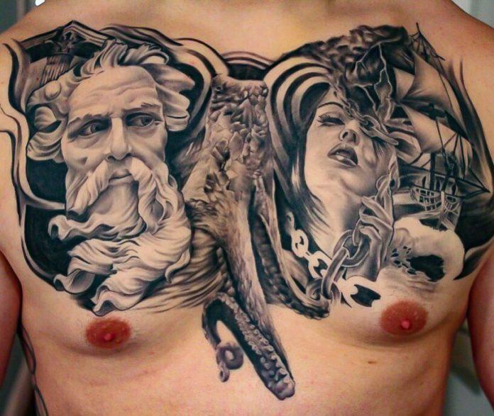 Tatouage de portrait d'un dieu grec + visage de femme