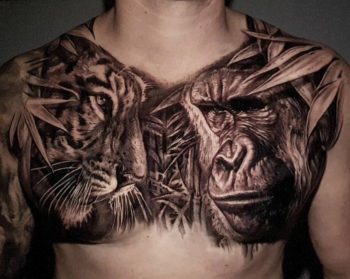 Tatouage de tête de singe et tête de tigre